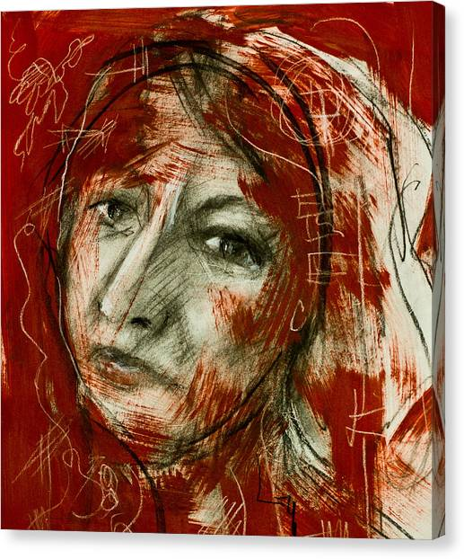 Female Head With Red Background Canvas Print