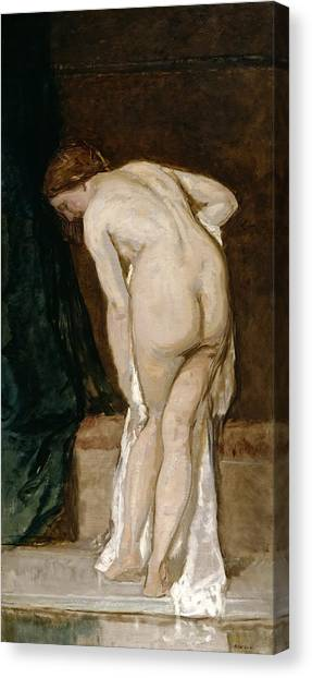 Erotic Framed Canvas Print - Female Nude. After Bathing by Eduardo Rosales