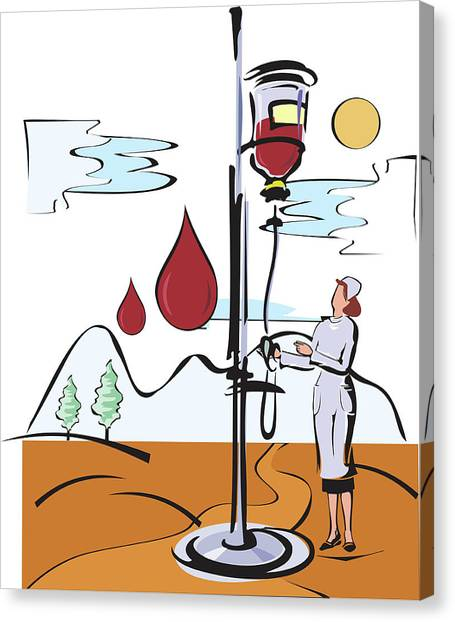 Female Nurse Holding Iv Stand Canvas Print by Fanatic Studio / Science Photo Library