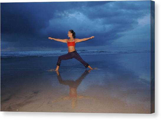 Breathe Canvas Print - Female Performs Yoga On Beach by Peter McBride