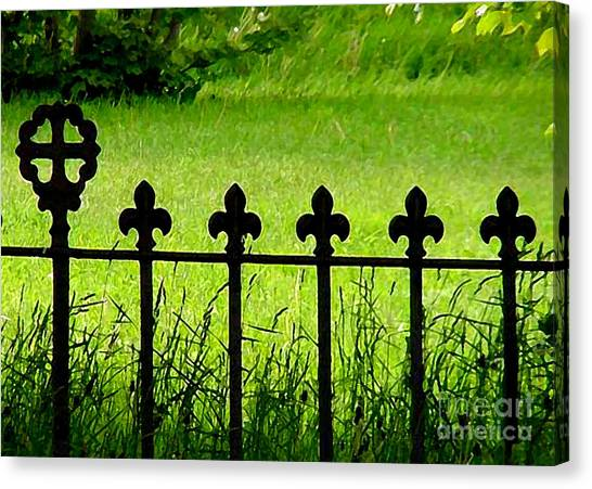 Fence And Cross Canvas Print