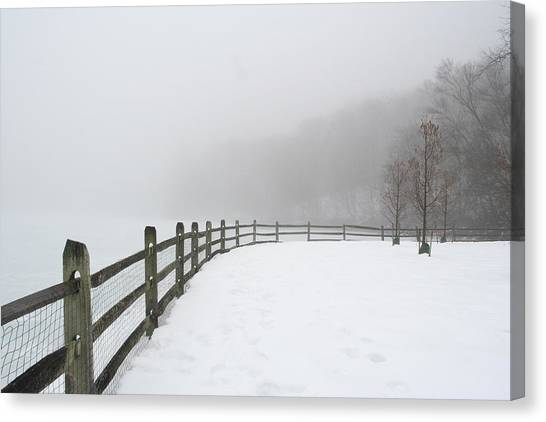 Fence In Fog Canvas Print
