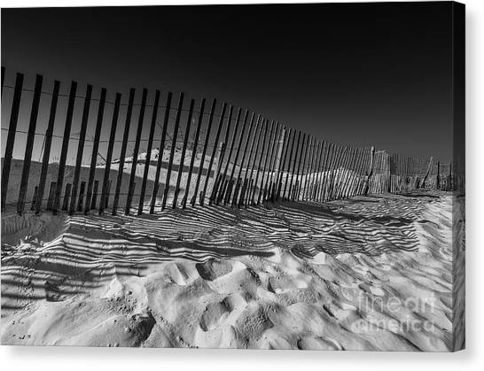 Fence On Beach Canvas Print