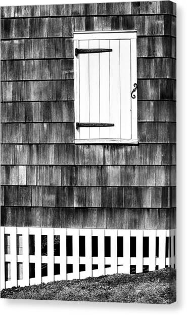 Fence Shutter And Weathered Wall Canvas Print