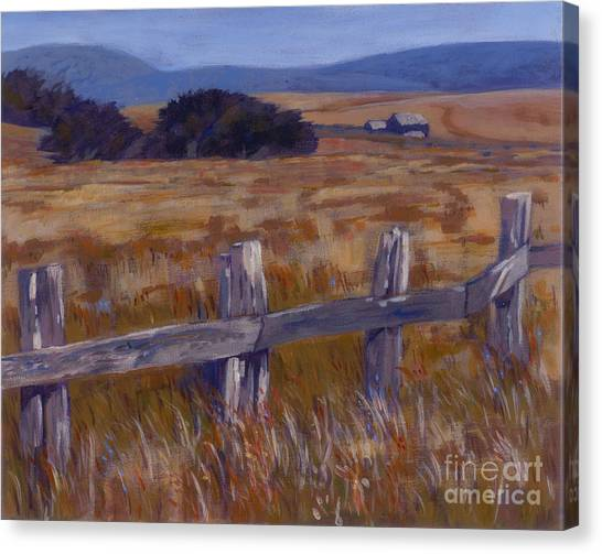 Fenced Field - Point Arenas Ca Canvas Print by Betsee  Talavera