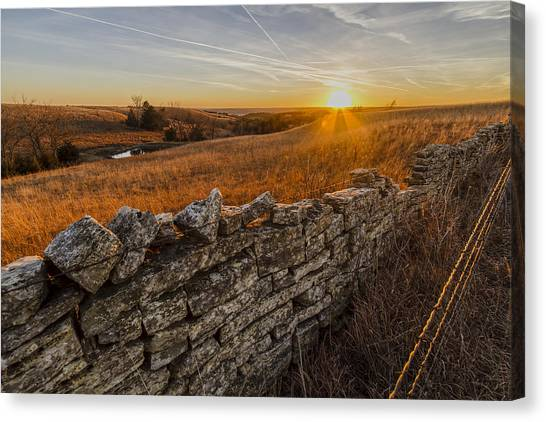 Prairie Sunsets Canvas Print - Fences by Scott Bean