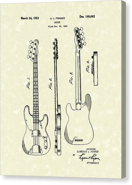 Canvas Print featuring the drawing Fender Bass Guitar 1953 Patent Art  by Prior Art Design