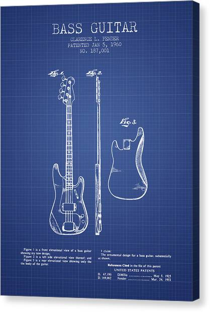 Fender Guitars Canvas Print - Fender Bass Guitar Patent From 1960 - Blueprint by Aged Pixel