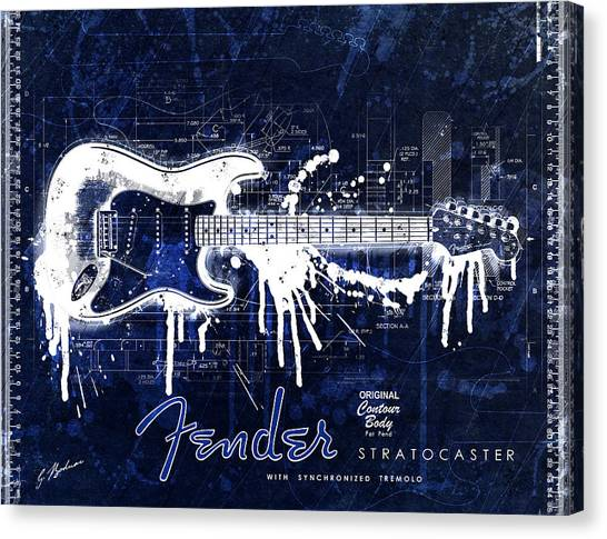 Stratocasters Canvas Print - Fender Blueprint Washout by Gary Bodnar