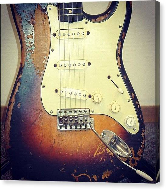 Stratocasters Canvas Print - #fender #custom #old #stratocaster by Philopater Di carlo