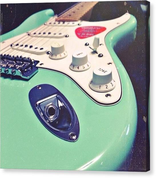 Stratocasters Canvas Print - #fender #fendergreen #stratocaster by Sara Dlg