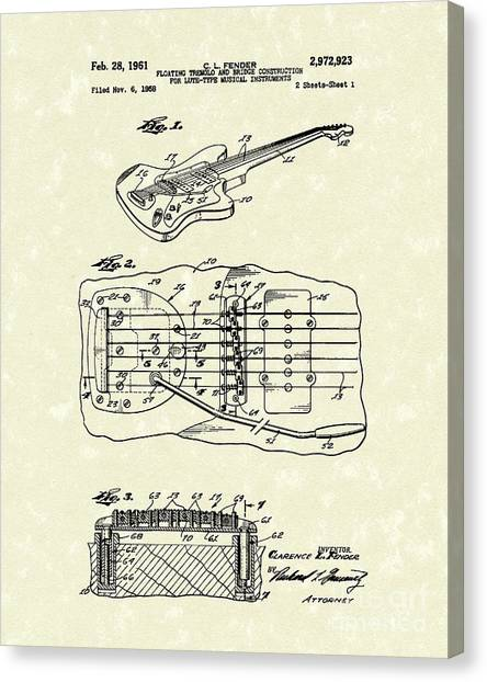 Stringed Instruments Canvas Print - Fender Floating Tremolo 1961 Patent Art by Prior Art Design