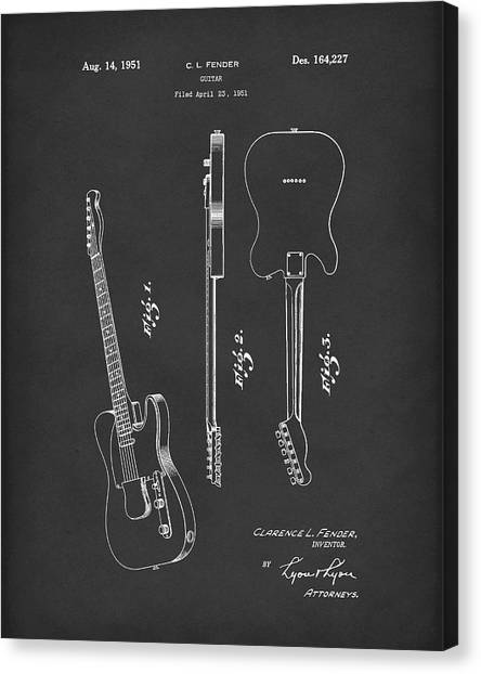 Canvas Print featuring the drawing Fender Guitar 1951 Patent Art Black by Prior Art Design