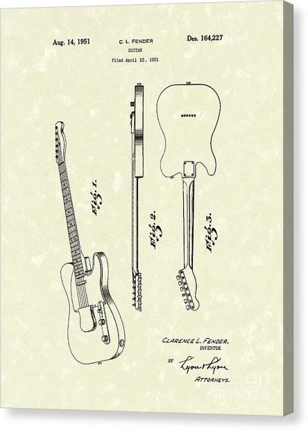 Fender Guitar 1951 Patent Art Canvas Print