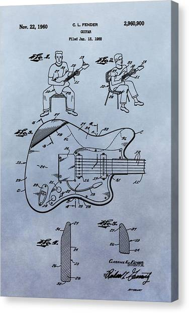 Guitar Picks Canvas Print - Fender Guitar Patent by Dan Sproul