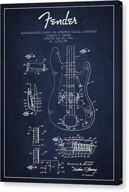 Fender Guitars Canvas Print - Fender Guitar Patent Drawing From 1961 by Aged Pixel