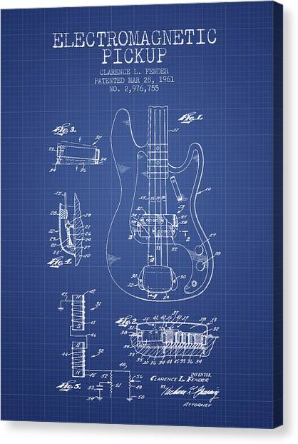 Fender Guitars Canvas Print - Fender Guitar Patent From 1961 - Blueprint by Aged Pixel
