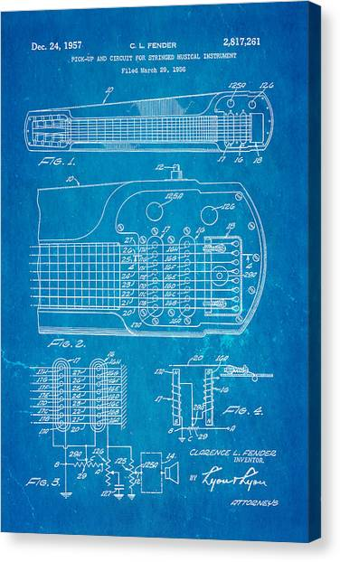 Guitar Picks Canvas Print - Fender Pick-up Patent Art 1957 Blueprint by Ian Monk