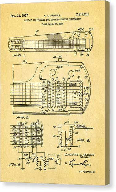 Guitar Picks Canvas Print - Fender Pick-up Patent Art 1957  by Ian Monk
