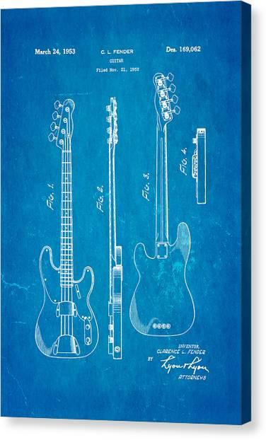 Household Canvas Print - Fender Precision Bass Guitar Patent Art 1953 Blueprint by Ian Monk