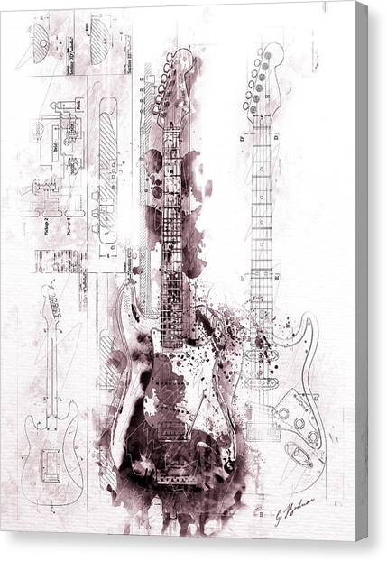 Stratocasters Canvas Print - Fender Strat Scarlet Drip by Gary Bodnar