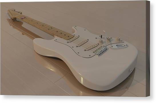 Fender Stratocaster In White Canvas Print