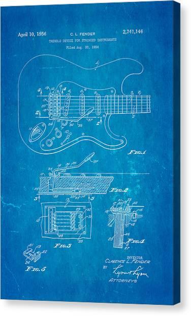 Speakers Canvas Print - Fender Stratocaster Tremolo Arm Patent Art 1956 Blueprint by Ian Monk