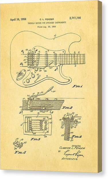 Speakers Canvas Print - Fender Stratocaster Tremolo Arm Patent Art 1956 by Ian Monk