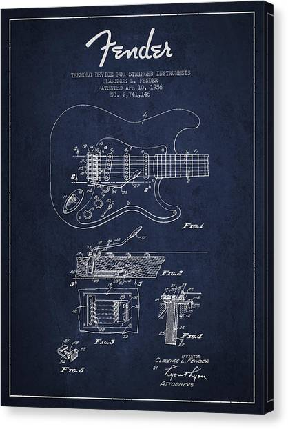 Acoustic Guitars Canvas Print - Fender Tremolo Device Patent Drawing From 1956 by Aged Pixel