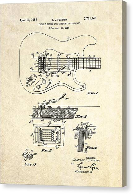 Stratocasters Canvas Print - 1956 Fender Tremolo Patent Drawing I by Gary Bodnar