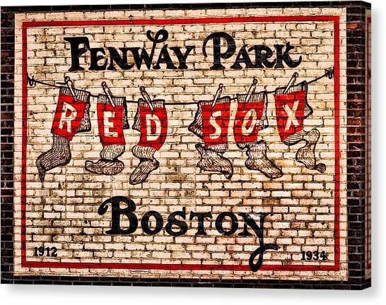 Fenway Park Canvas Print - Fenway Park Boston Redsox Sign by Bill Cannon