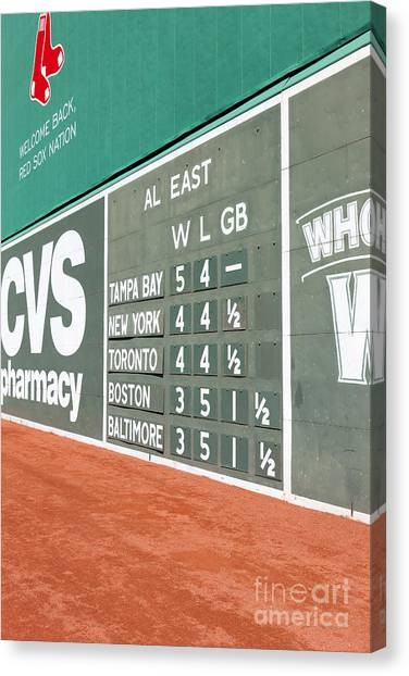Fenway Park Canvas Print - Fenway Park Green Monster Scoreboard I by Clarence Holmes