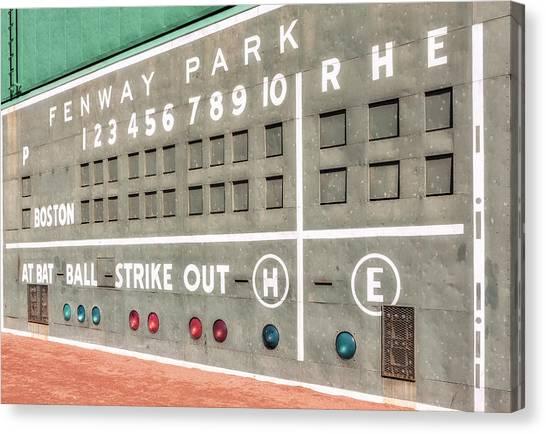 Boston Red Sox Canvas Print - Fenway Park Scoreboard by Susan Candelario