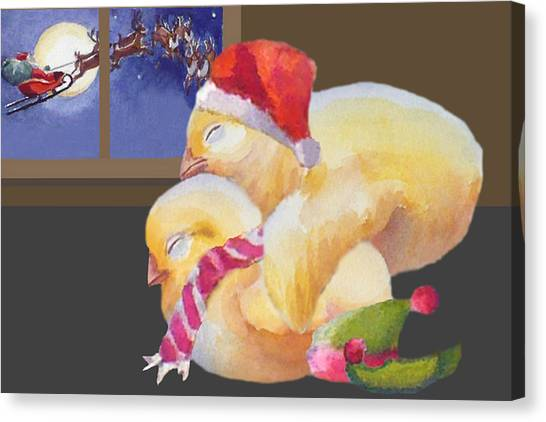Baby Chicks Night Before Christmas Canvas Print