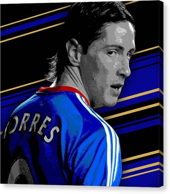 Soccer Players Canvas Print - Fernando Torres Chelsea Print by Pro Prints
