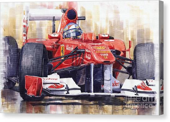 Ferrari Canvas Print - 2011 Ferrari 150 Italia Fernando Alonso F1   by Yuriy Shevchuk