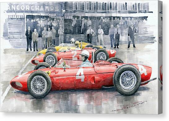 Race Cars Canvas Print - Ferrari 156 Sharknose 1961 Belgian Gp by Yuriy Shevchuk