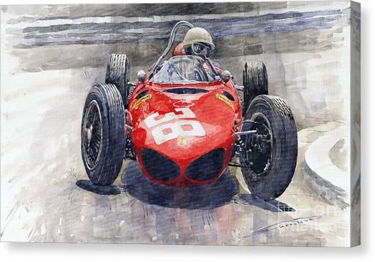 Racing Canvas Print - Ferrari 156 Sharknose Phil Hill Monaco 1961 by Yuriy Shevchuk