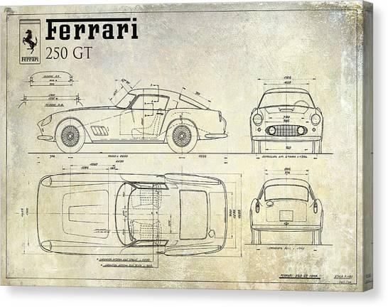 Race Cars Canvas Print - Ferrari 250 Gt Blueprint Antique by Jon Neidert