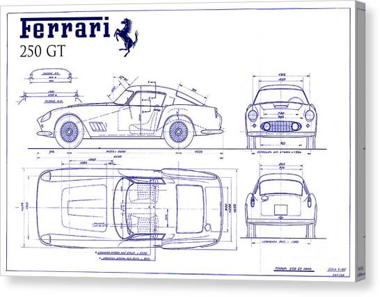 Car blueprint canvas prints page 2 of 25 pixels car blueprint canvas print ferrari 250 gt blueprint by jon neidert malvernweather Gallery