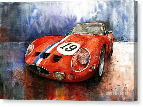 Sports Cars Canvas Print - Ferrari 250 Gto 1963 by Yuriy Shevchuk