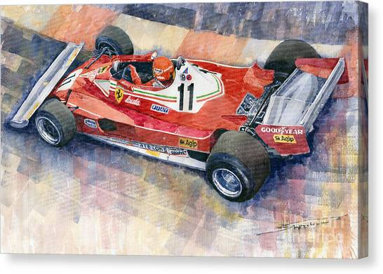 Ferrari Canvas Print - Ferrari 312 T2 Niki Lauda 1977 Monaco Gp by Yuriy Shevchuk