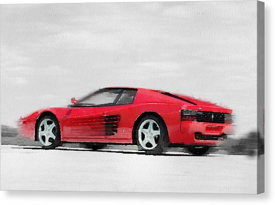 Ferrari Canvas Print - Ferrari 512 Tr Testarossa Watercolor by Naxart Studio