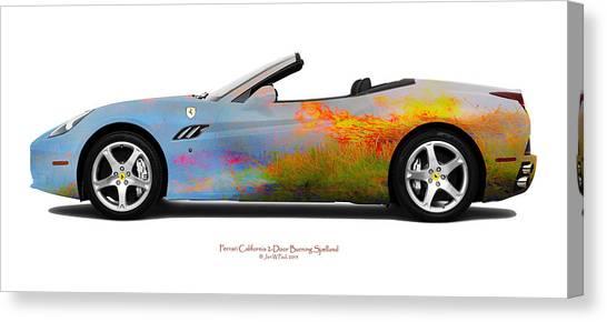 Ferrari California Burning Sealand Canvas Print by Jan W Faul