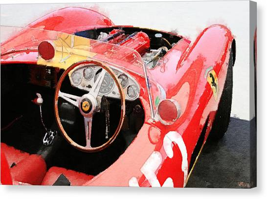 Ferrari Canvas Print - Ferrari Cockpit Monterey Watercolor by Naxart Studio