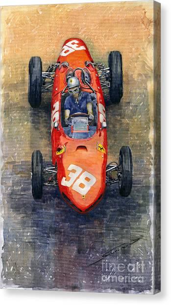 Automotive Art Canvas Print - Ferrari Dino 156 1962 Monaco Gp by Yuriy Shevchuk