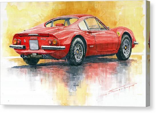 Automotive Art Canvas Print - 1969-1974 Ferrari Dino 246 by Yuriy Shevchuk