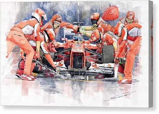 Ferrari Canvas Print - 2012 Ferrari F 2012 Fernando Alonso Pit Stop by Yuriy Shevchuk