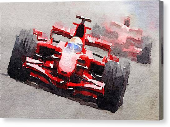 Formula Car Canvas Print - Ferrari F1 Race Watercolor by Naxart Studio