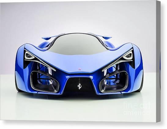 Race Cars Canvas Print - Ferrari F80 Eye Candy Blue by Marvin Blaine